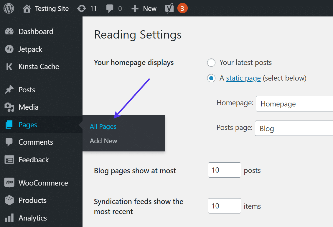 Go to 'Pages > All Pages' in WordPress admin