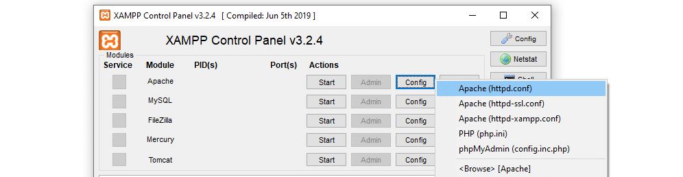 Accessing Apache's configuration file.