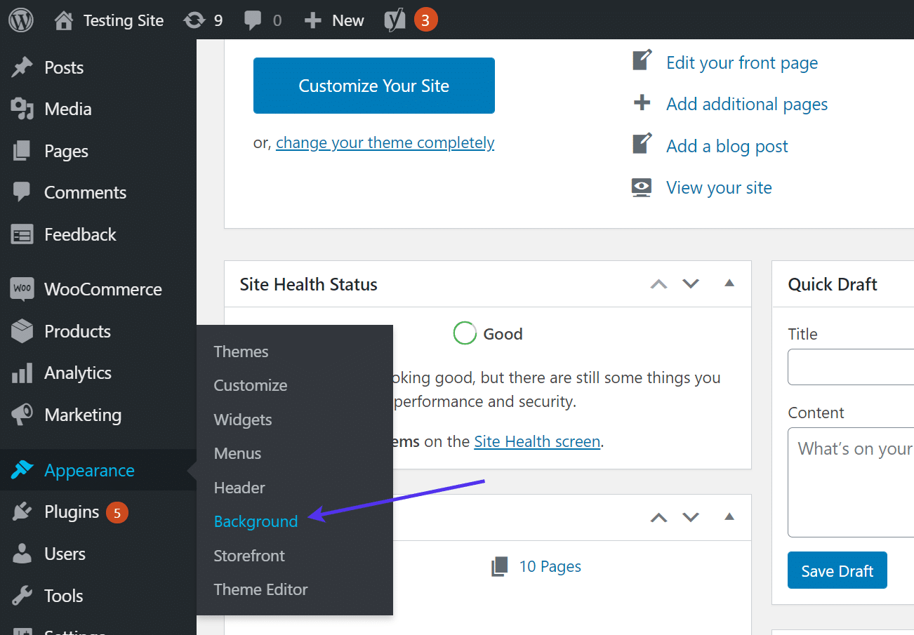 Click the 'Background' link under Appearance menu