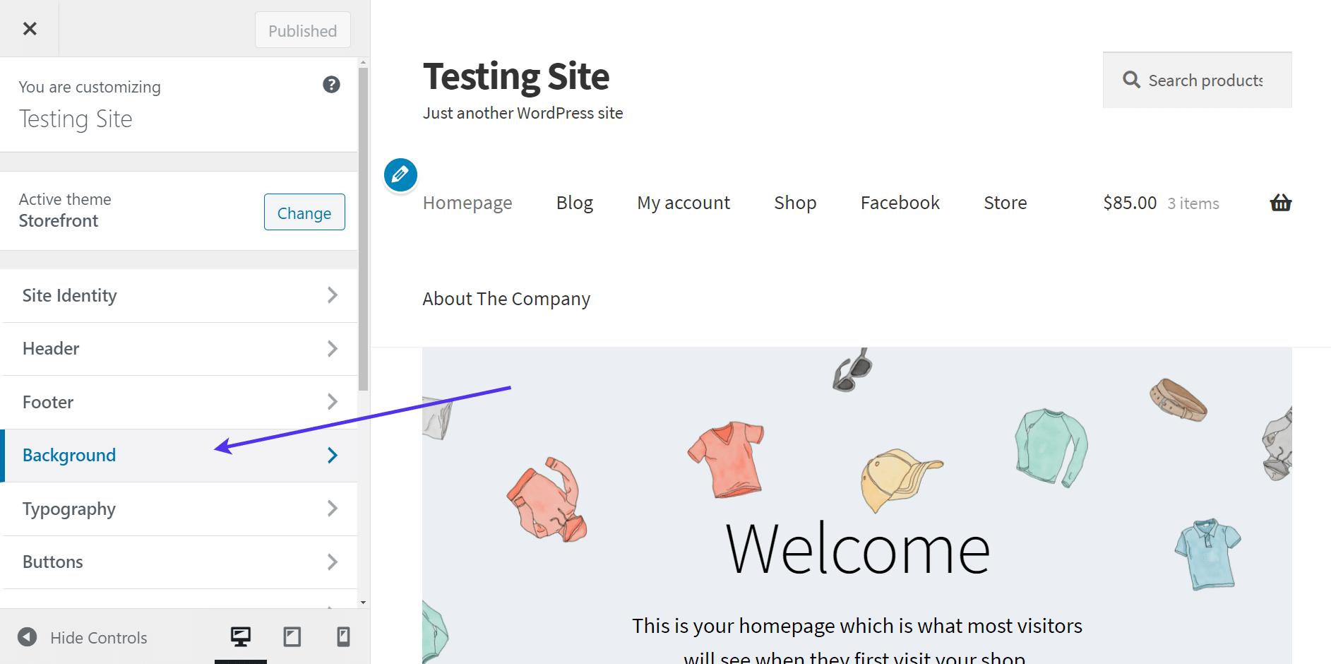 WordPress background image in editor