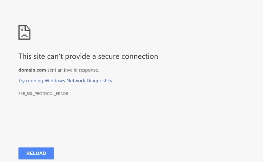 Erreur de connexion sécurisée dans Google Chrome.