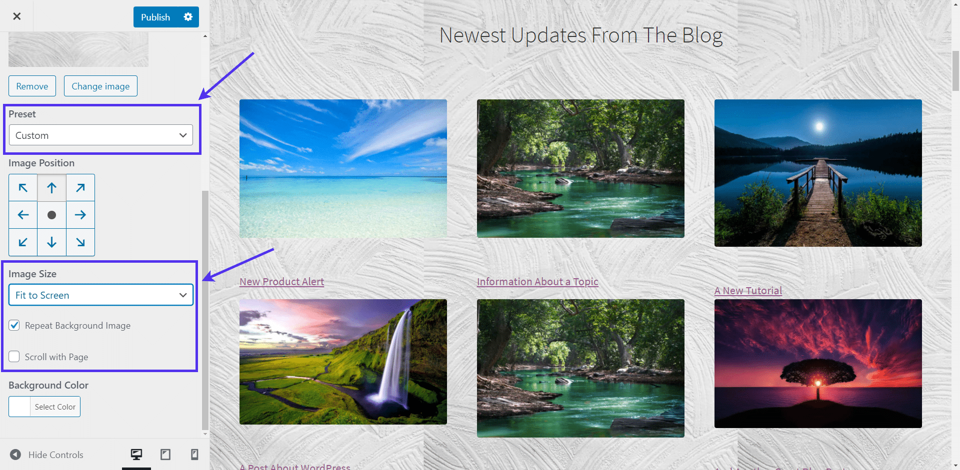 Presets and Image Sizes for background images