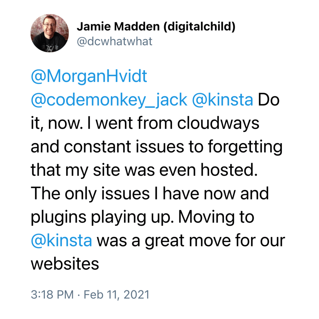 Moving to Kinsta got rid of this customer's