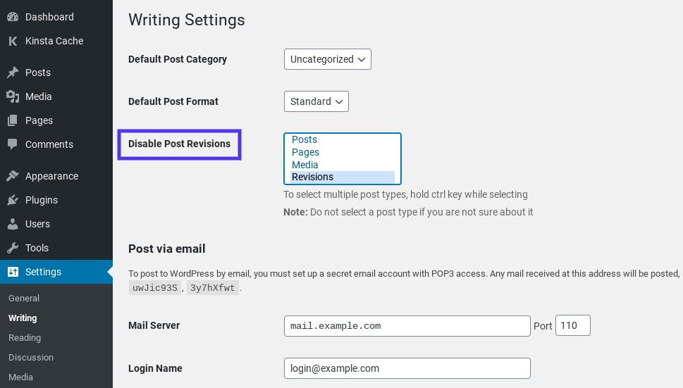 The Disable Post Revisions WordPress plugin settings.