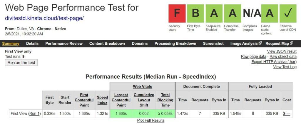 Risultati di Divi WebPageTest con il plugin Autoptimize