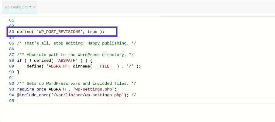 Enabling WordPress revisions manually.