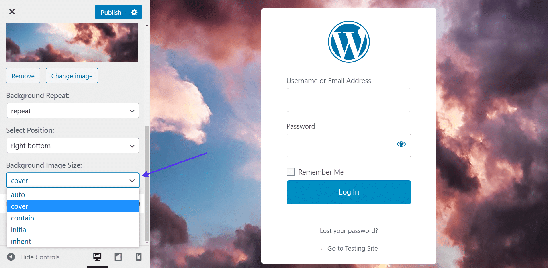 Set the WordPress background image size