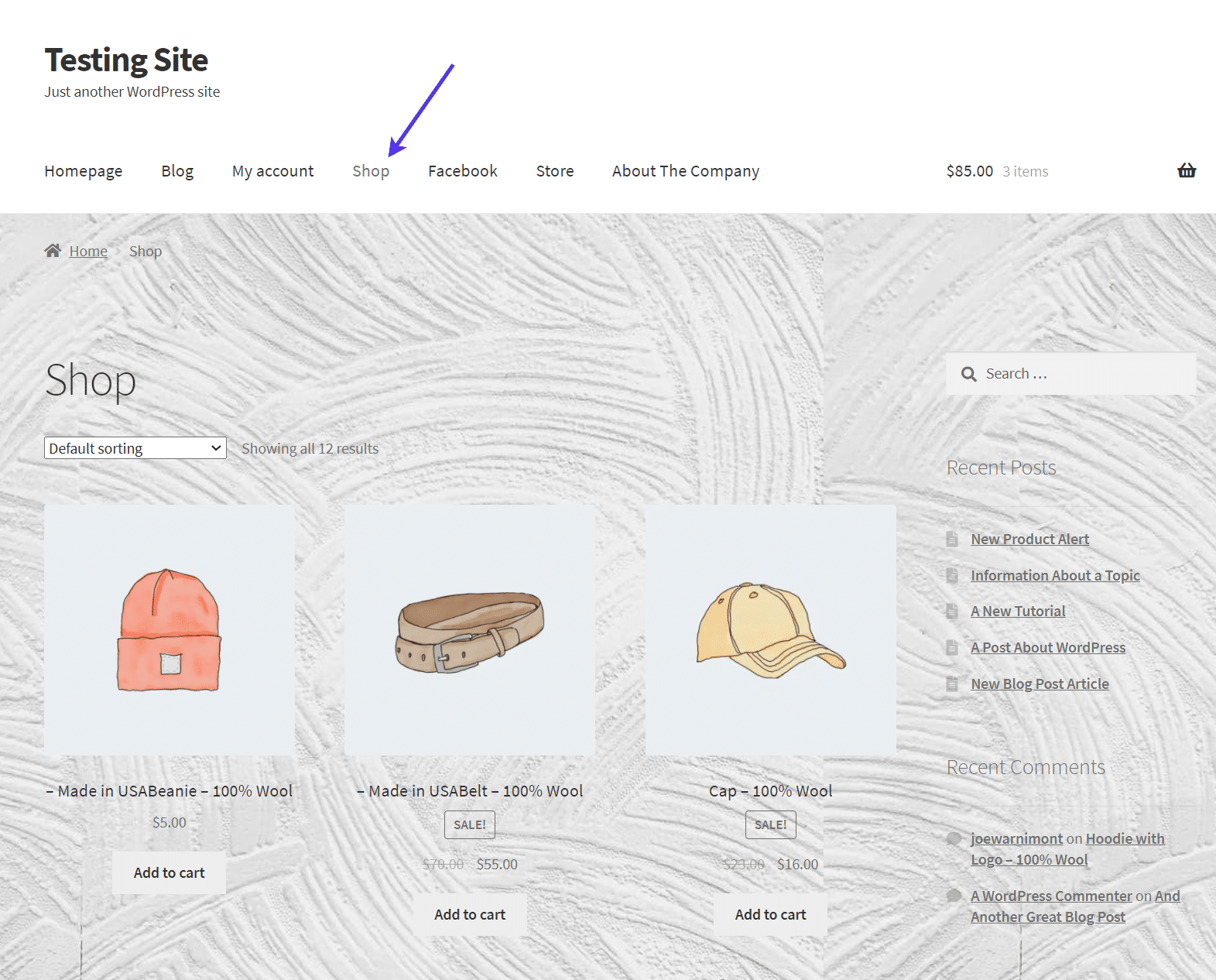 The WordPress background image in another page