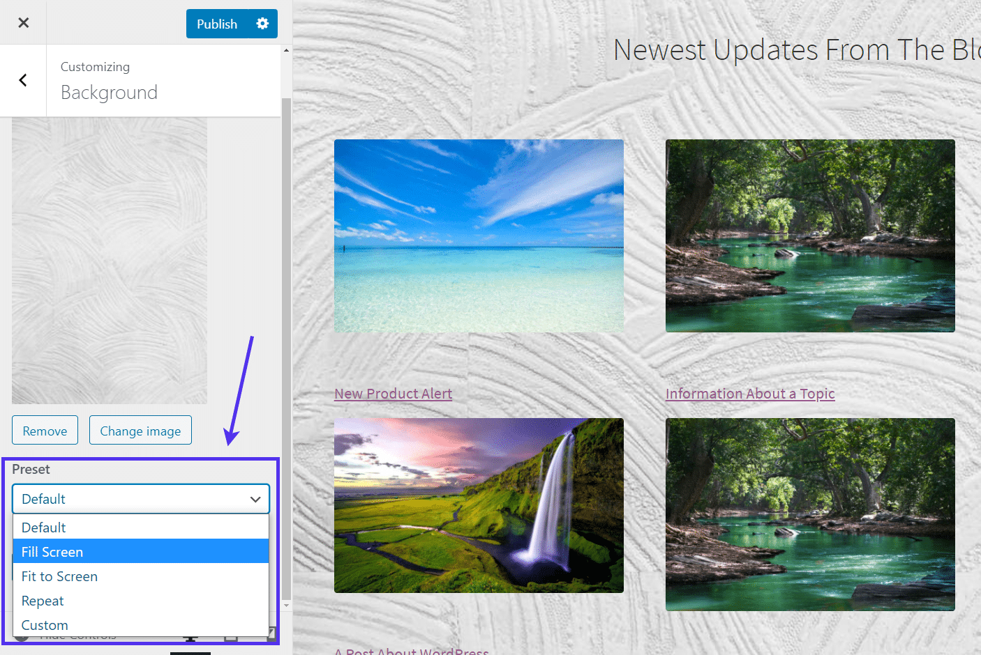 'Fill Screen' preset for WordPress Background Images