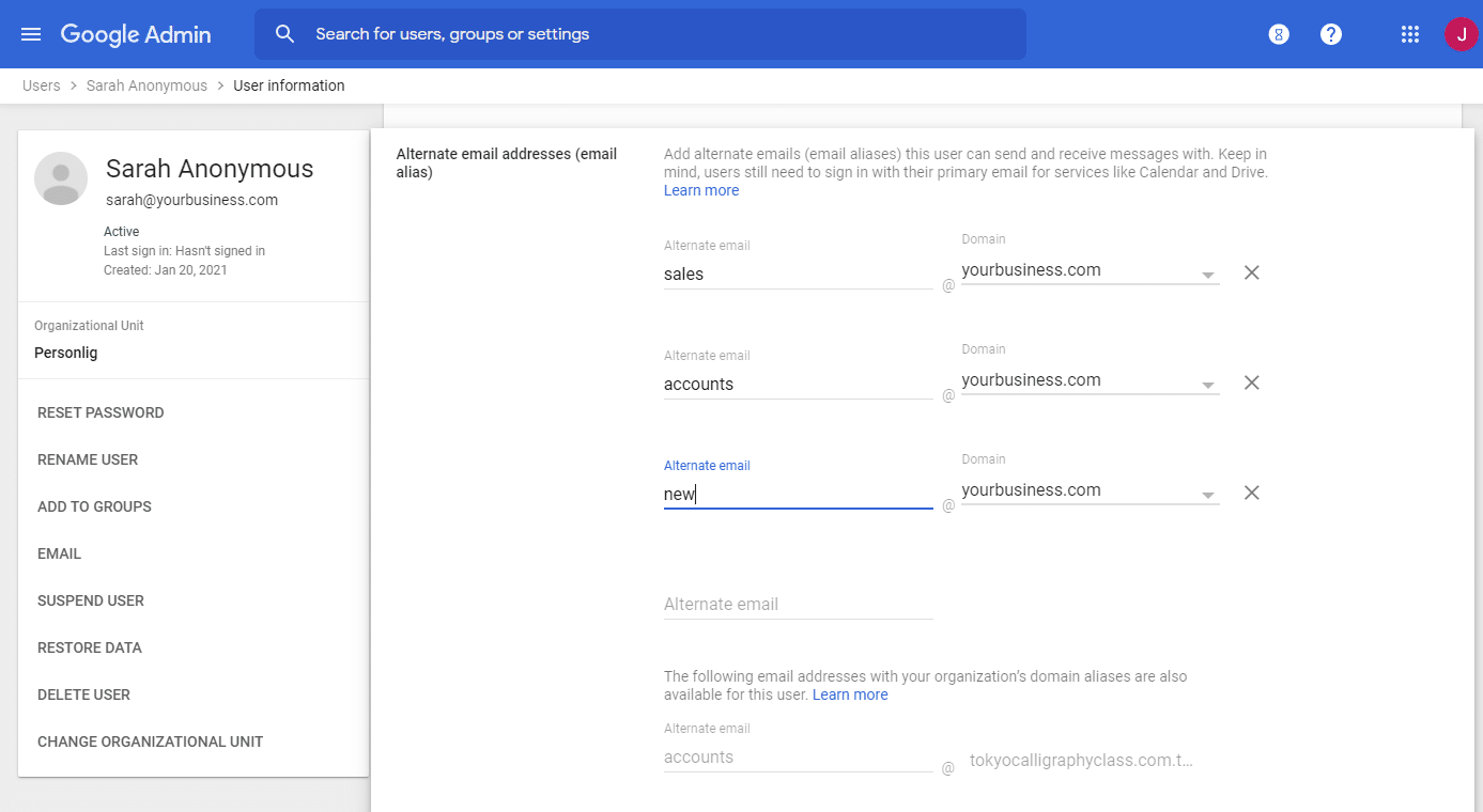 Setting email aliases in Google Workspace
