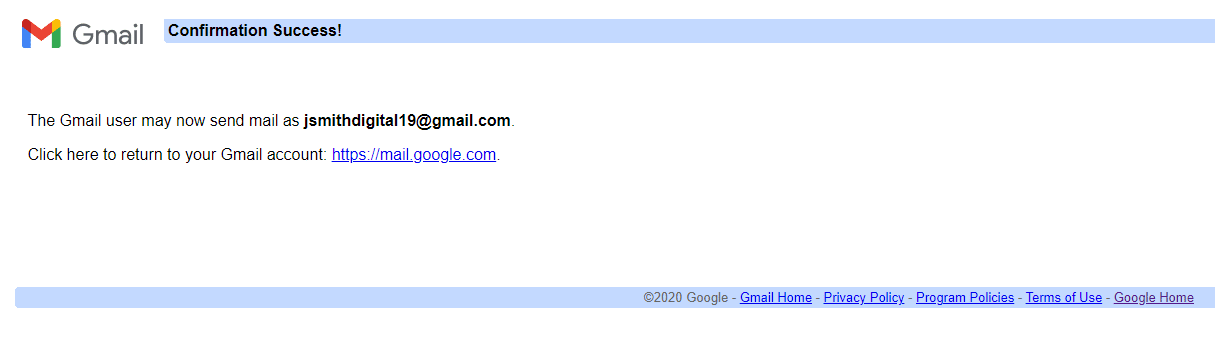 Gmail account connection success