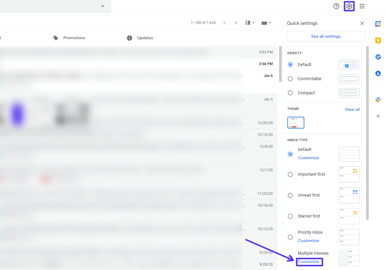 Gmail's quick settings
