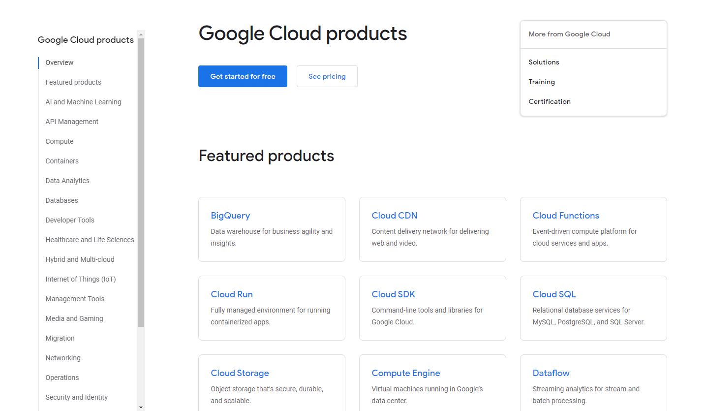 Visión general de los productos de Google Cloud