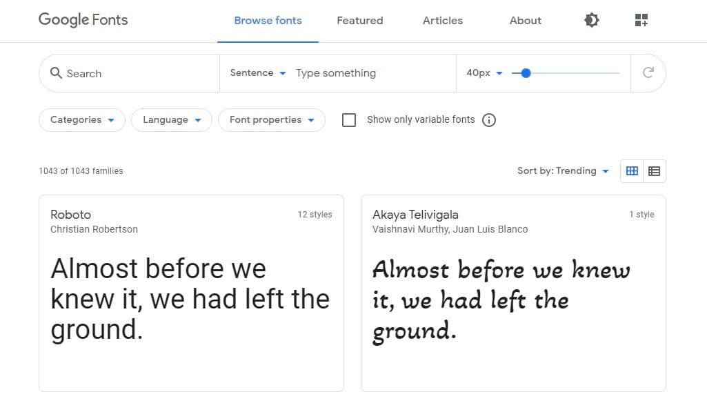 Fuentes de Google