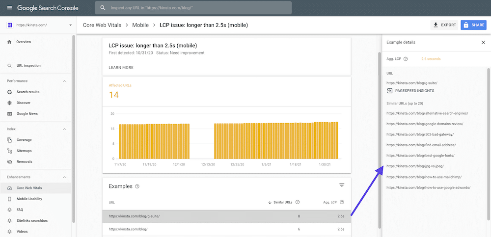 Google Search Console Core Web Vitals Report