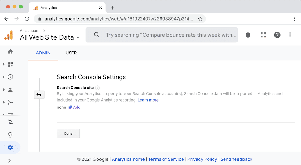 Link Google Analytics and Google Search Console