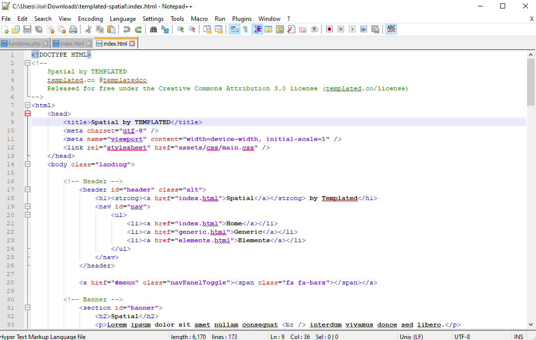 Example of an HTML index file