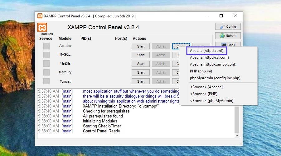 The Apache (httpd.conf) file in XAMPP control panel.