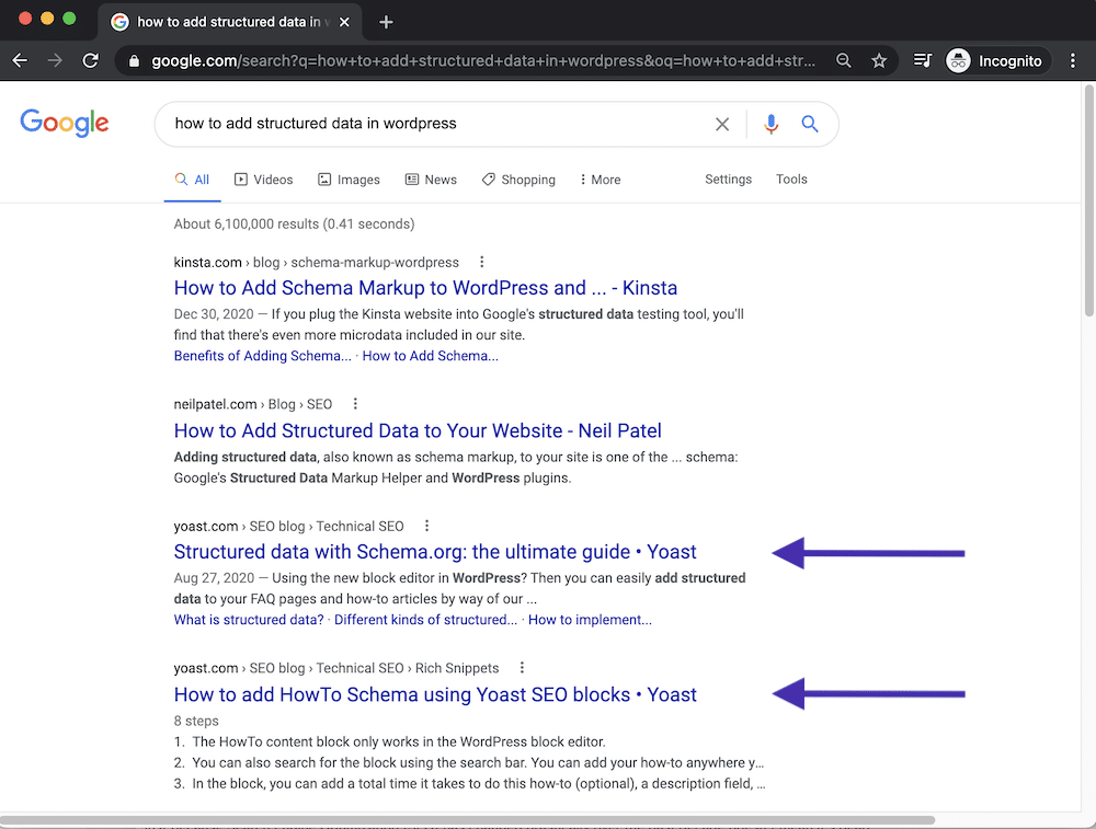 Keyword Cannibalization Example showing a domain with two pages ranking for the same search query
