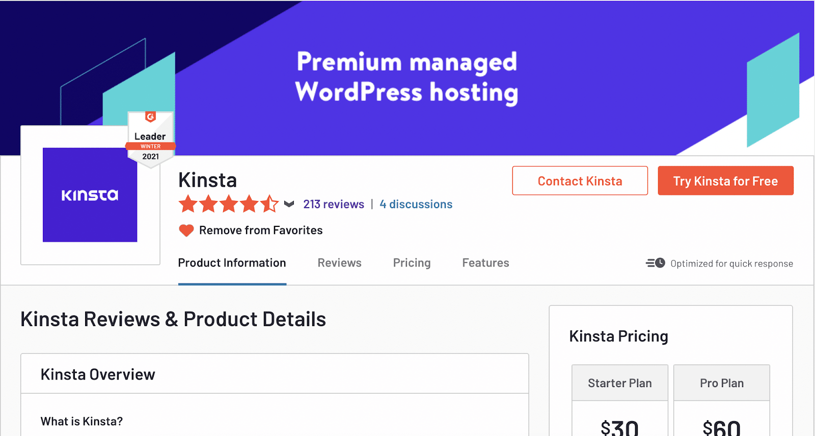 Kinsta's G2 profile
