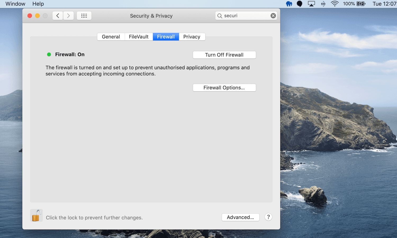 macOS firewall settings.