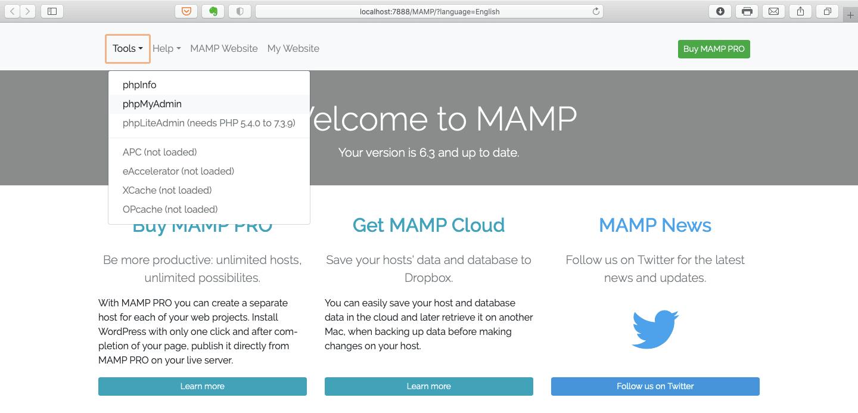 Le menu de démarrage de l'application MAMP