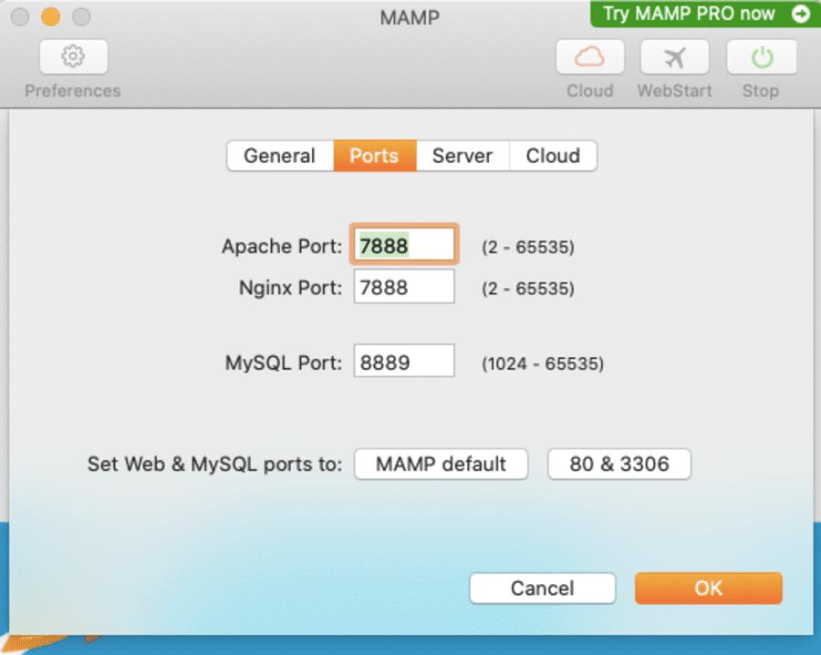 Réglages du port MAMP