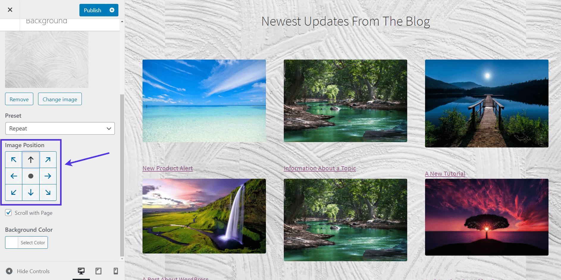 WordPress background image position