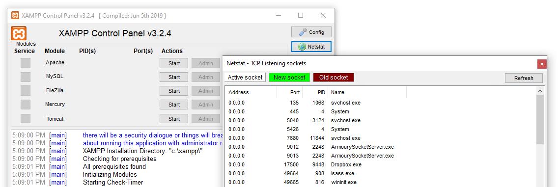 Überprüfe aktive Ports mit Netstat