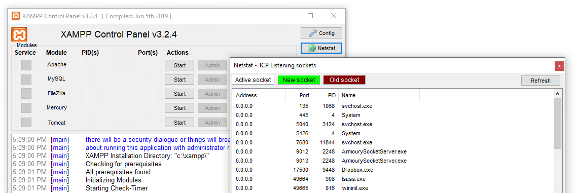 Checking active ports using Netstat.