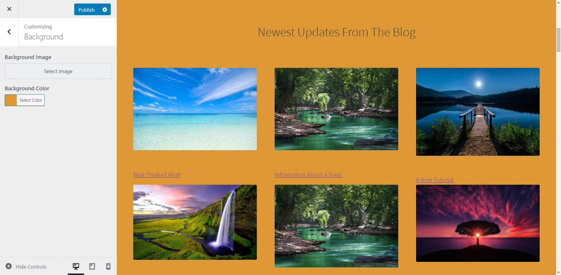 Previewing a solid orange WordPress background