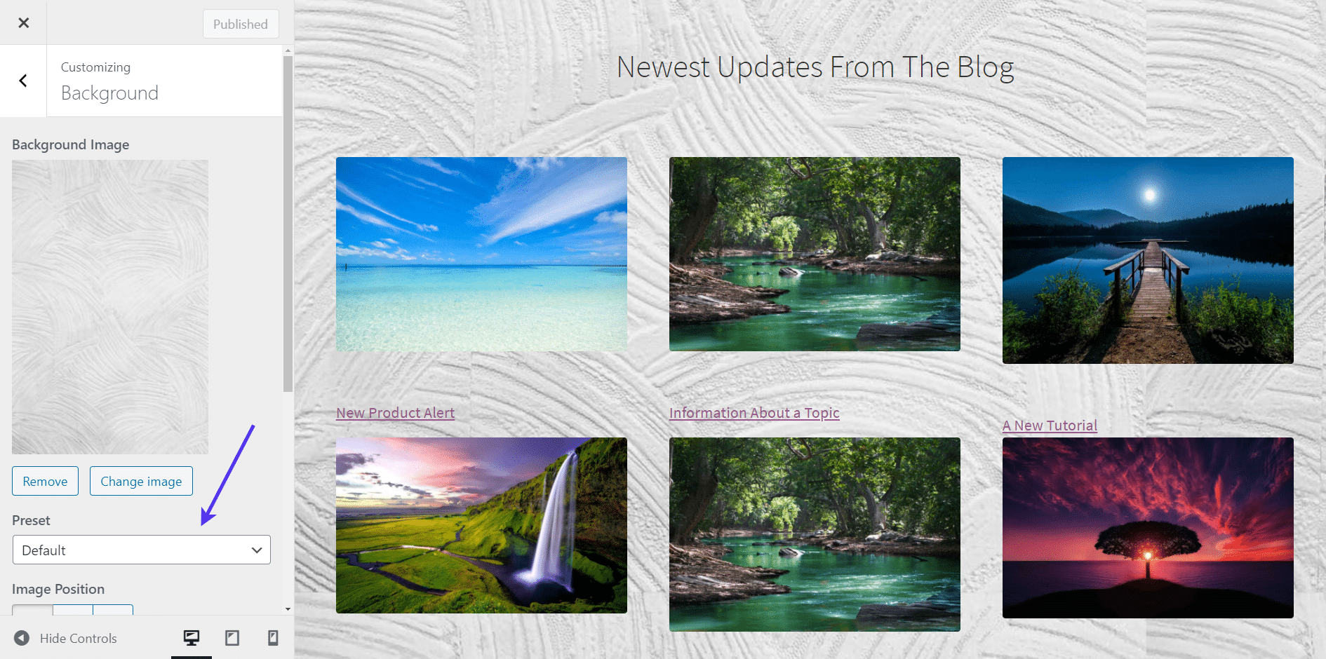 The 'Preset' option for WordPress background images