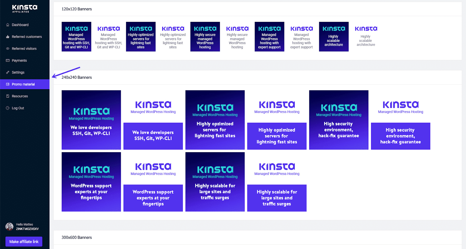 Example of Kinsta banners you can choose from