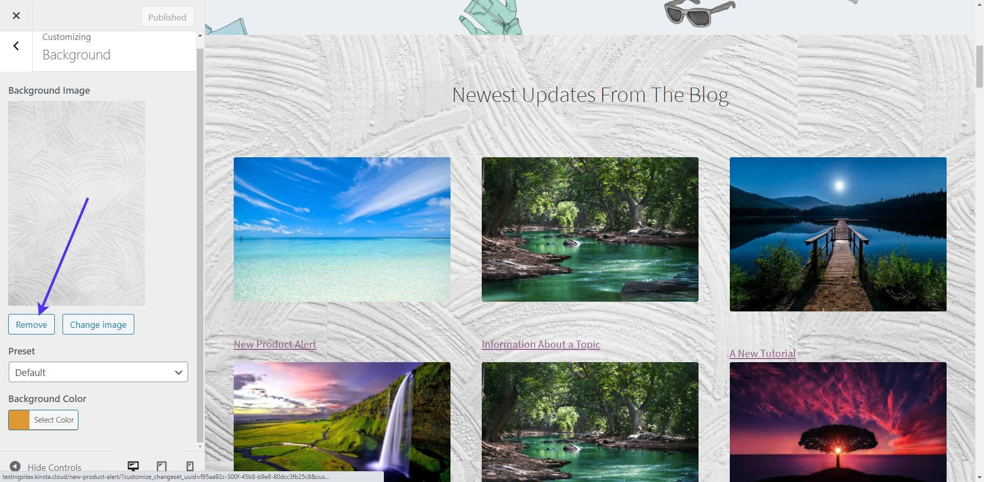 Remove WordPress background image