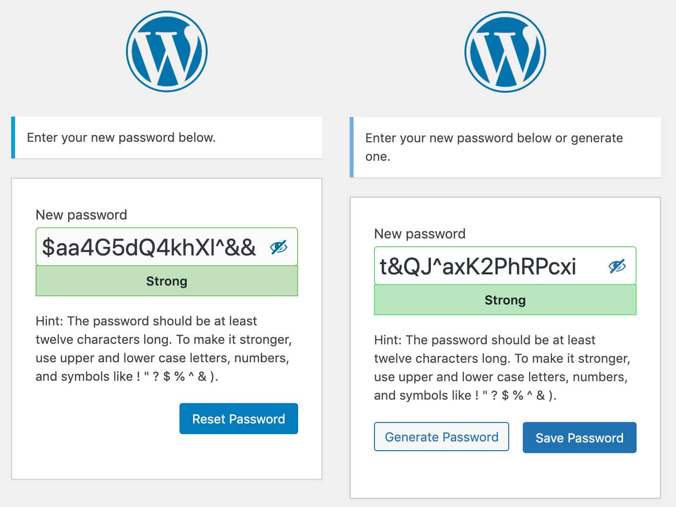 Reset Password screen in WordPress 5.7