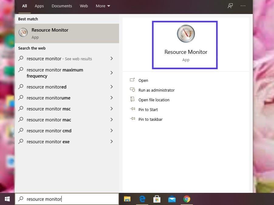 O aplicativo Windows Resource Monitor