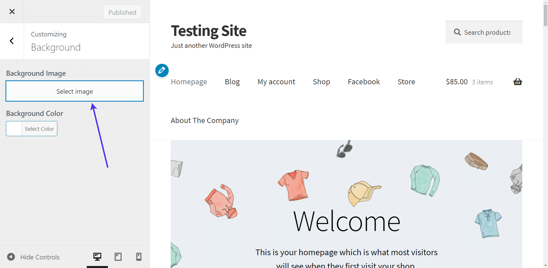 Click on the 'Select Image' button