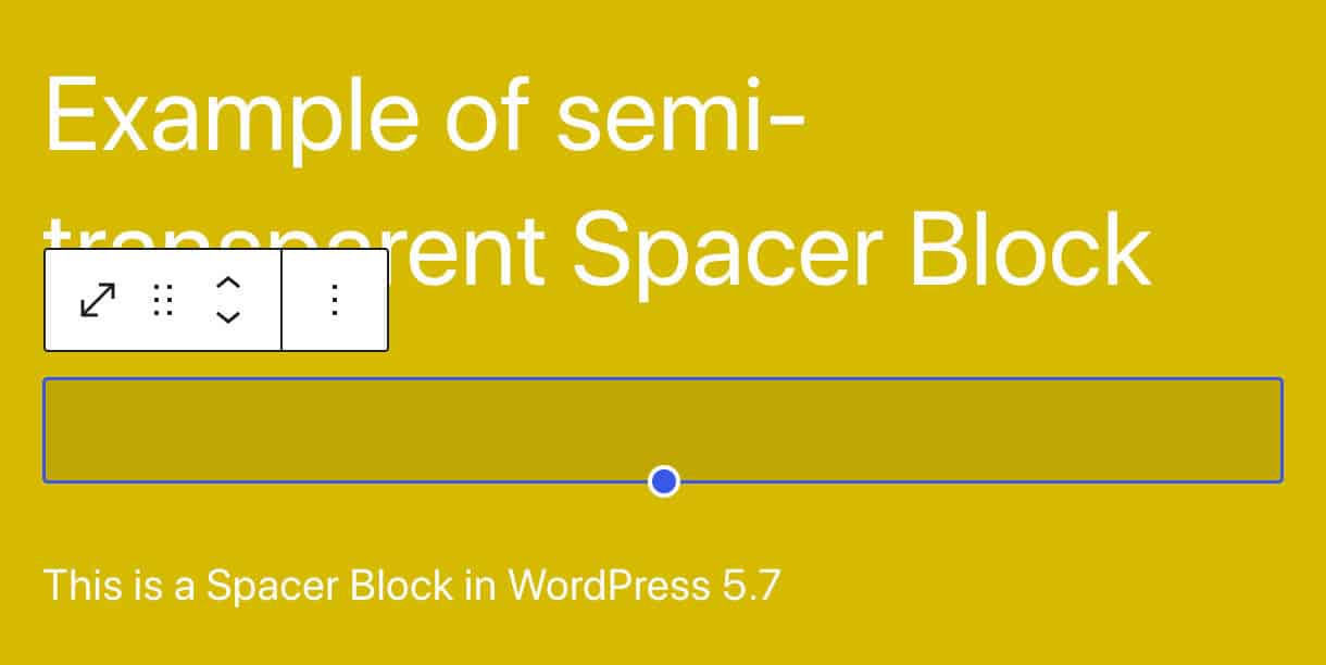 A semi-transparent Spacer Block in WordPress 5.7
