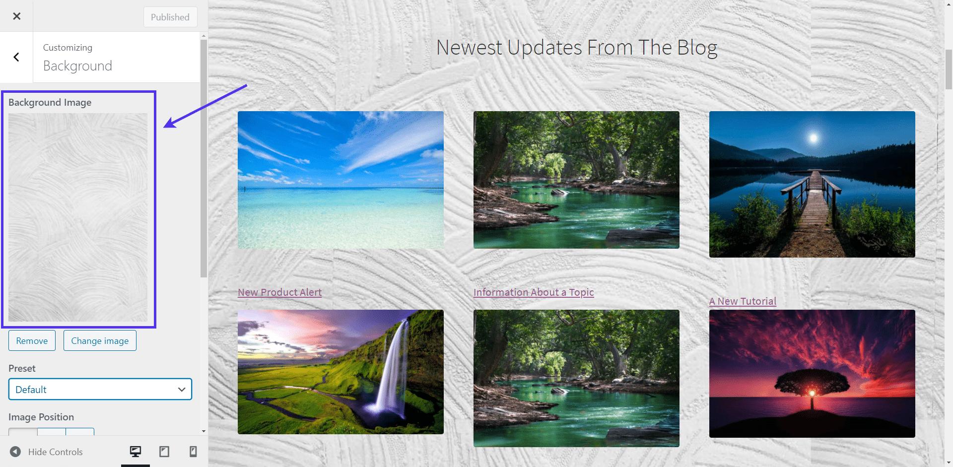 WordPress background image thumbnails