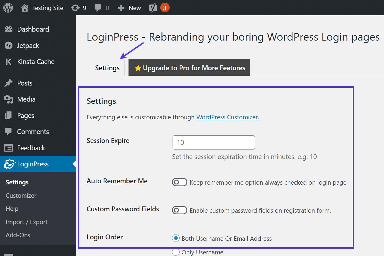 Changing the LoginPress settings