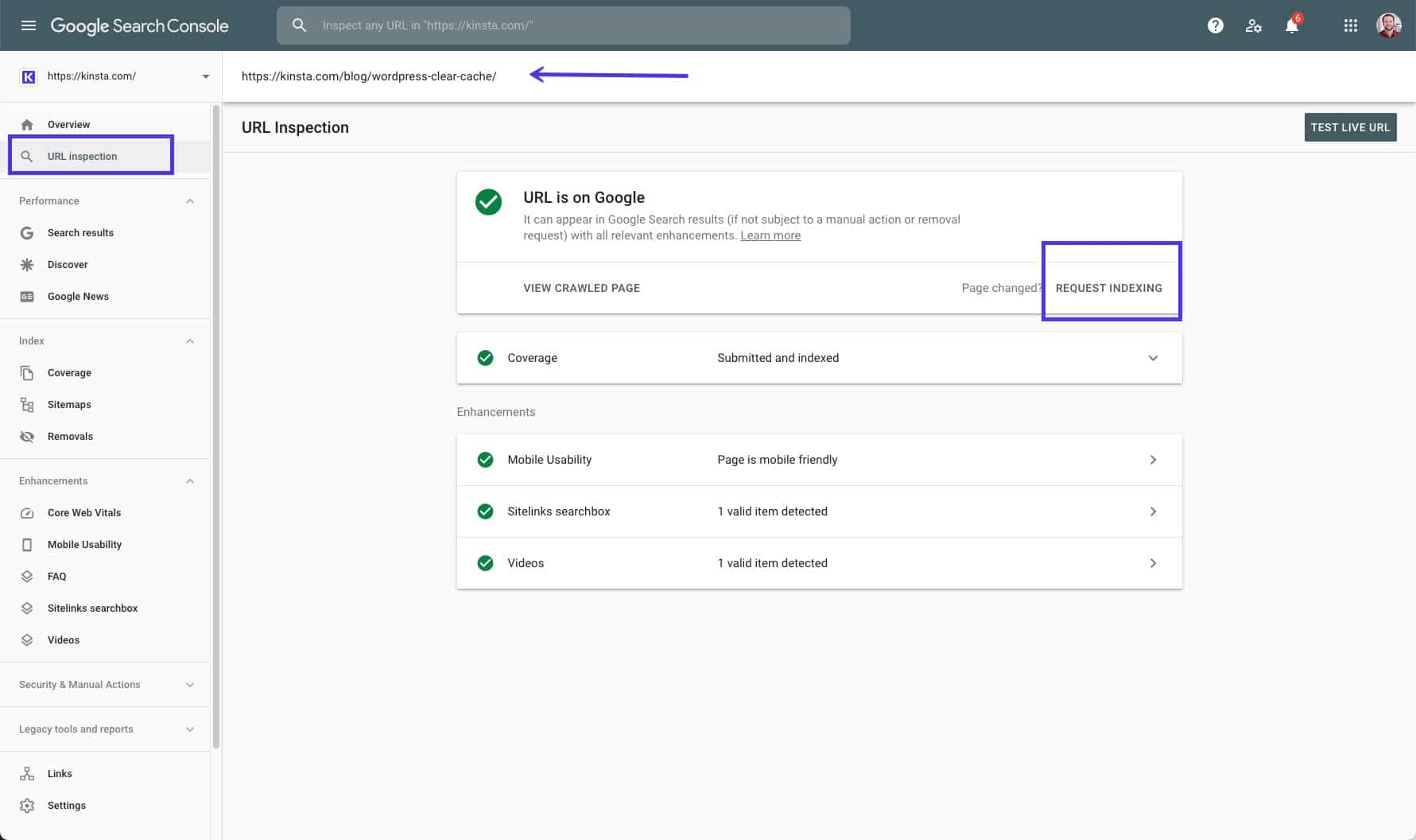 The URL Inspection tool in Google Search Console