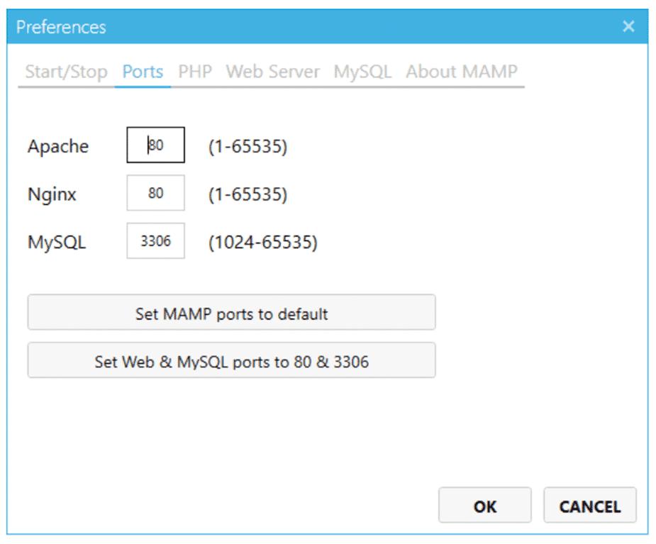 L'écran des réglages des ports MAMP