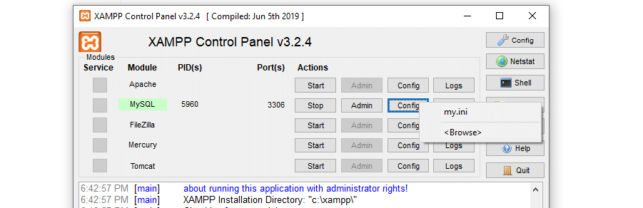 Acessando o arquivo de configuração do MySQL