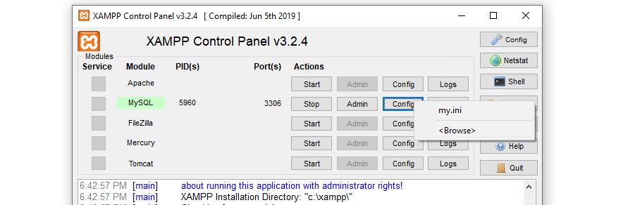 Accessing MySQL's config file.