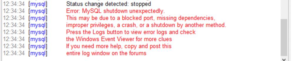 """O erro XAMPP """"MySQL shutdown unexpectedly""""."""
