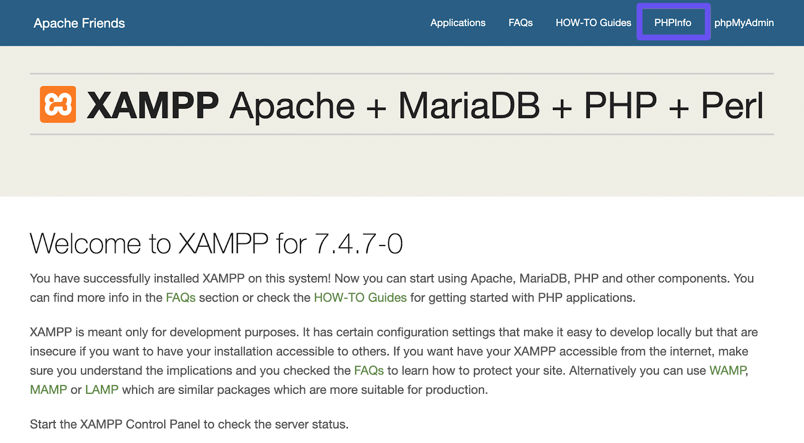 The PHPInfo link in the XAMPP dashboard.