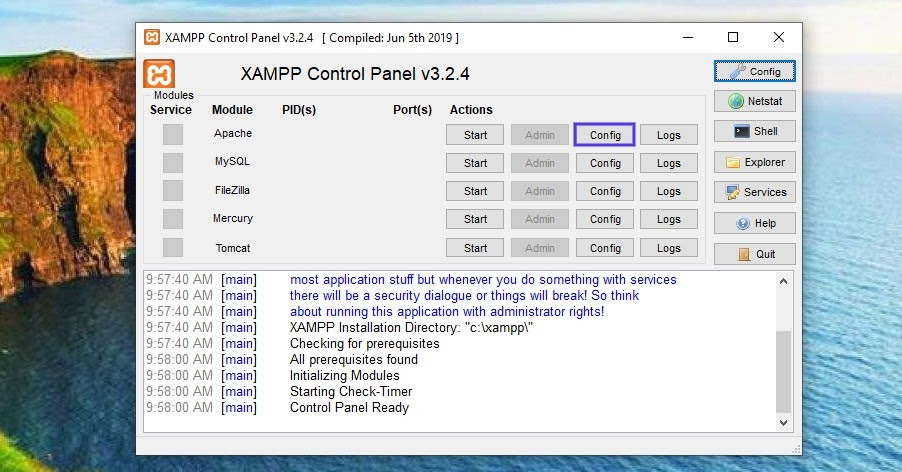 The XAMPP control panel in Windows.