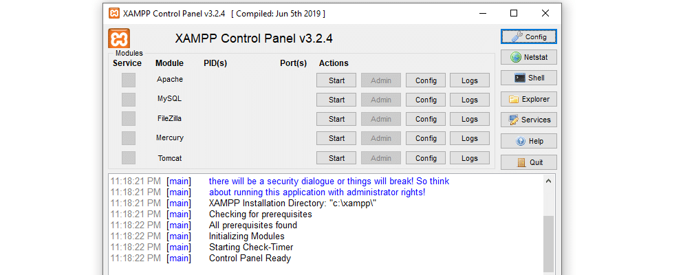 The XAMPP control panel includes logs for PHP and its other components.
