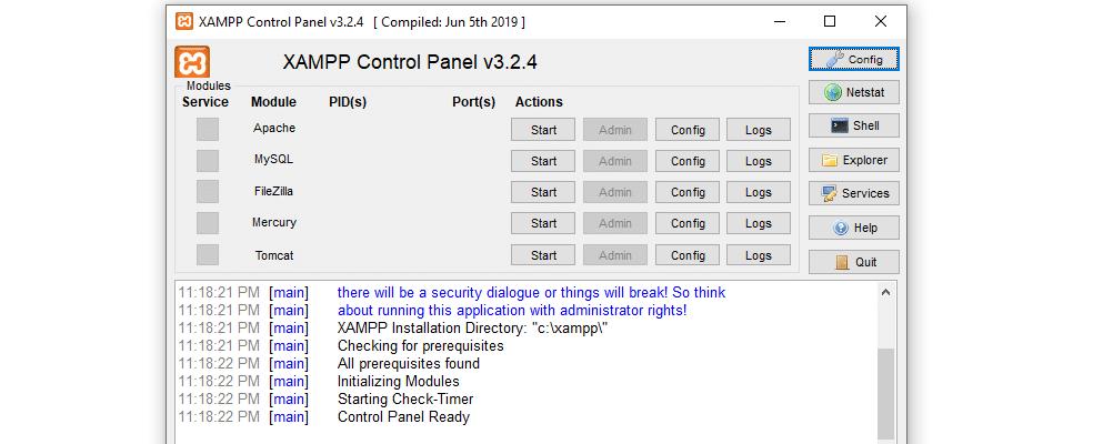 Das XAMPP Control Panel beinhaltet Logs für PHP und seine anderen Komponenten