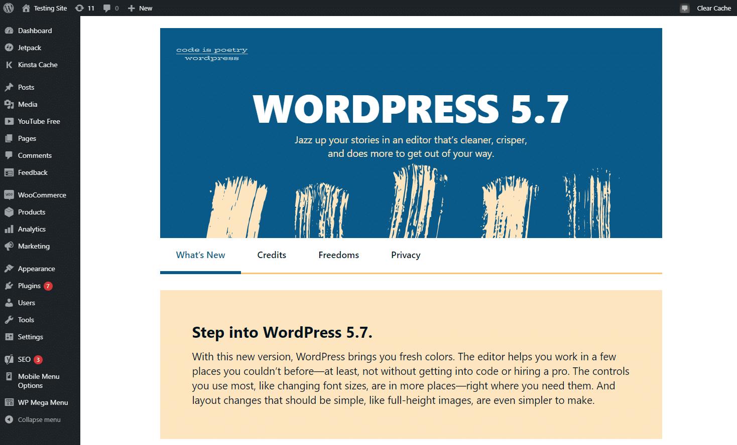 """Página """"O que há de novo"""" para WordPress 5.7"""